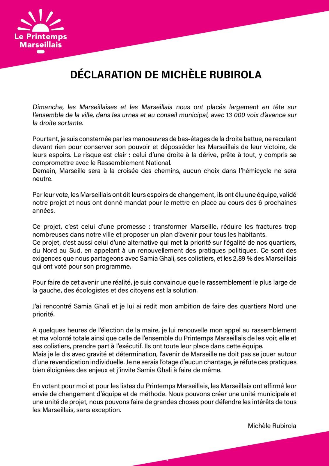 Déclaration de Michèle Rubirola à Samia Ghali